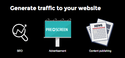 Three (3) ways to generate traffic to your website: SEO, content creation and advertising